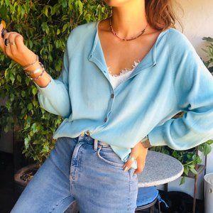 Vintage    Baby Blue Silk Cardigan